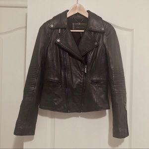 Bcbg maxazria black motorcycle leather jacket xs